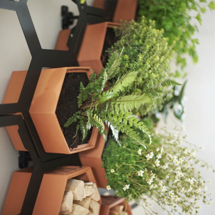 This vertical planter makes a statement in your natural interior, for a welcoming and restorative atmosphere. Achieve a botanical style that's long lasting and easy to care for. An ideal interior living wall kit consisting of just the right number of terracotta planters and frames for your space. There are several kits to choose from, and you can buy separates to grow your garden further. This modular living wall system lets you customise the look, with a choice of kits to suit the space and style of your room (S-XL). There's so much potential to design your perfect layout! Water your vertical horticulture garden from the top of each terracotta planter, through the specially designed holes. The slope to prevents overflowing. The natural terracotta planters and frames are made to be visible, with a beautiful design, texture and quality. The frames are stylishly made from powder coated steel. Reconnect your home interior with nature with a vertical living wall; your mind and body will thank you for it. Bringing nature into our home for wellness called biophilic interiors. Create a vertical living wall statement piece, an urban jungle bathroom, vertical garden kitchen or a relaxing oasis in a bedroom. Add some air purifying and calming plants in your vertical planter, like lavender and peace lilies, creating your dream nature inspired home decor. Plants not included. These beautiful terracotta planters and frames are made in the UK with passion, expertise and precision.