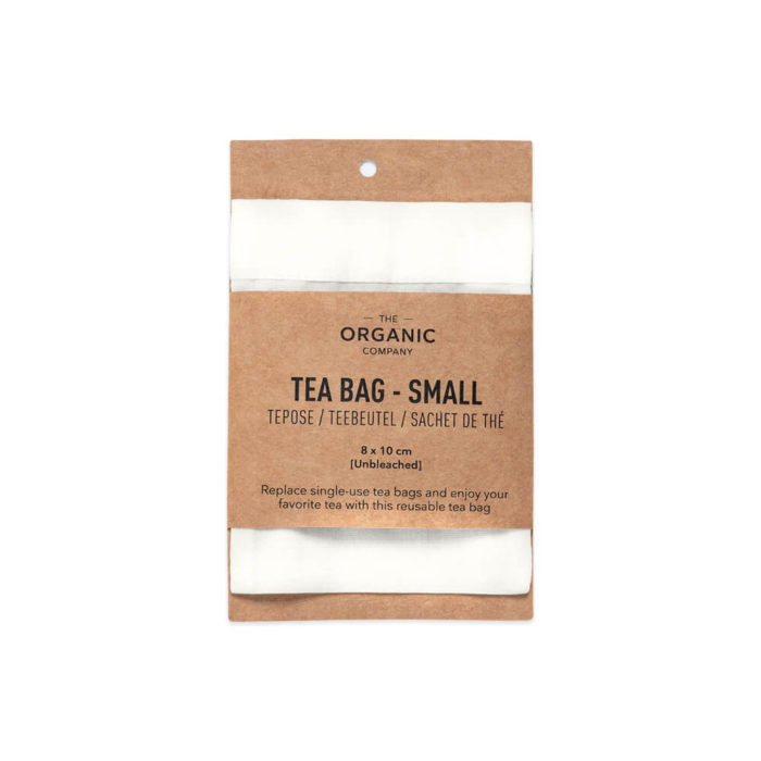 Reusable tea bags to replace single-use tea bags, made in organic unbleached cotton for a cleaner cup of tea. Small size (pictured) for a single cup of tea, medium size for a tea pot, or a boxed gift set with both, including a bamboo stick to hold the bag in place while brewing. Empty, wash (or rinse) and re-use again and again. Size: Small – 8 x 10 cm Medium – 9 x 14 cm Designed by The Organic Company in Denmark, made from 100% GOTS certified organic cotton. The entire product is plastic free. This picture shows the tea bag in it's recycled cardboard packaging.