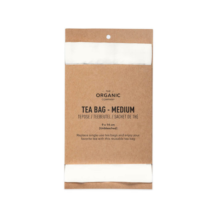 Reusable tea bags to replace single-use tea bags, made in organic unbleached cotton for a cleaner cup of tea. Small size for a single cup of tea, medium size (pictured) for a tea pot, or a boxed gift set with both, including a bamboo stick to hold the bag in place while brewing. Empty, wash (or rinse) and re-use again and again. Size: Small – 8 x 10 cm Medium – 9 x 14 cm Designed by The Organic Company in Denmark, made from 100% GOTS certified organic cotton. The entire product is plastic free. This picture shows the recycled cardboard packaging.