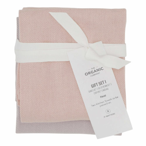 A long lasting kitchen towel gift set with two large kitchen towels in a complementary colour palette. Presentable, thoughtful and sustainable. Each towel measures 53 x 86 cm. Seen here in Floral colour mix.