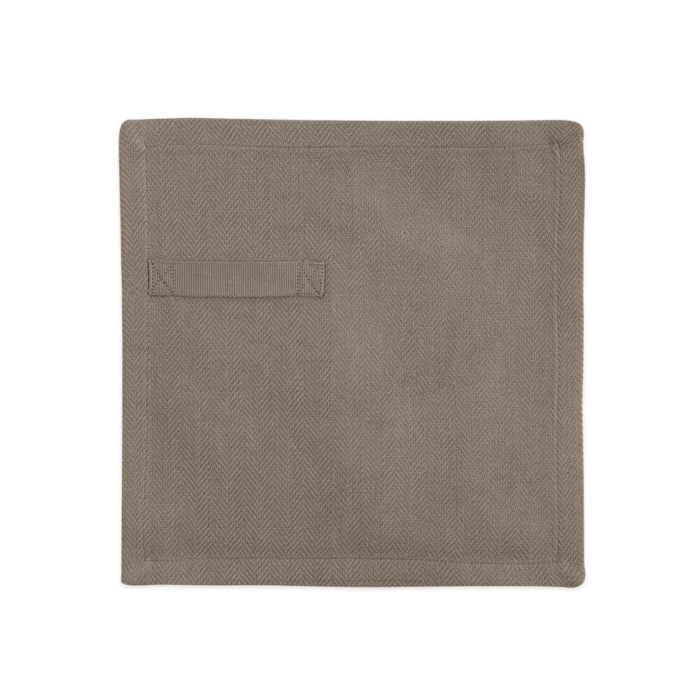 "Cloth napkins, the ""Everyday Napkin"" in organic cotton, 20x20cm. This comes in a set of 4, either single colours, or mixed pack. The cardboard boxed napkins make a lovely gift. Designed by The Organic Company. Seen here in Clay."