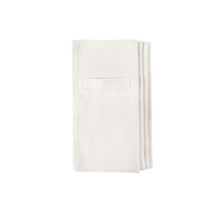 "Cloth napkins, the ""Everyday Napkin"" in organic cotton, 20x20cm. This reusable cloth napkin comes in a set of 4, either single colours, or mixed pack. The cardboard boxed napkins make a lovely gift. Designed by The Organic Company. Seen here in white."