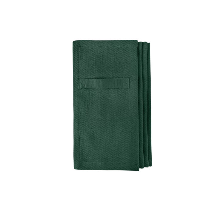 "Cloth napkins, the ""Everyday Napkin"" in organic cotton, 20x20cm. This reusable cloth napkin comes in a set of 4, either single colours, or mixed pack. The cardboard boxed napkins make a lovely gift. Designed by The Organic Company. Seen here in dark green."