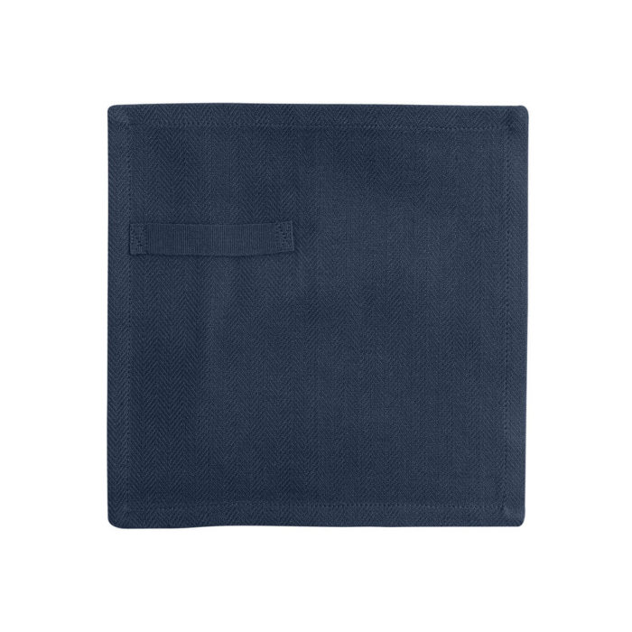 "Cloth napkins, the ""Everyday Napkin"" in organic cotton, 20x20cm. This reusable cloth napkin comes in a set of 4, either single colours, or mixed pack. The cardboard boxed napkins make a lovely gift. Designed by The Organic Company. Seen here in dark blue."