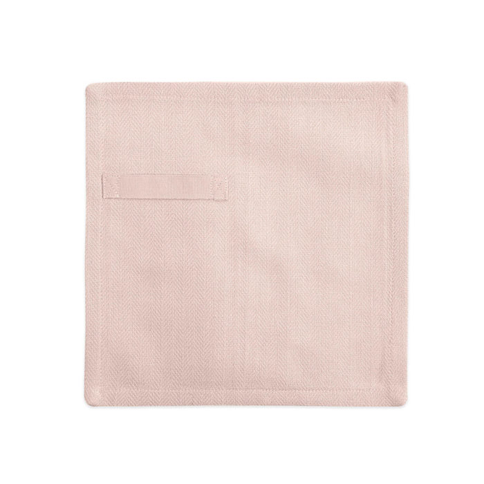 "Cloth napkins, the ""Everyday Napkin"" in organic cotton, 20x20cm. This reusable cloth napkin comes in a set of 4, either single colours, or mixed pack. The cardboard boxed napkins make a lovely gift. Designed by The Organic Company. Seen here in pale rose.."