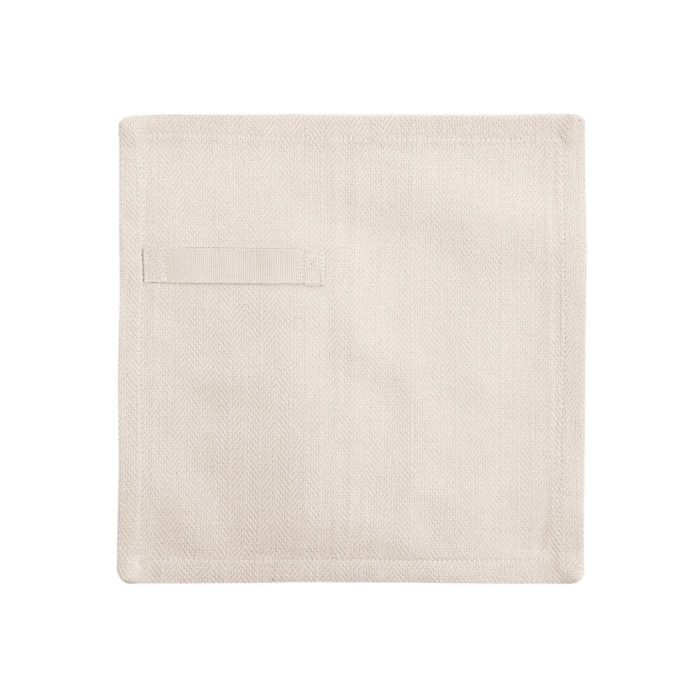 "Cloth napkins, the ""Everyday Napkin"" in organic cotton, 20x20cm. This reusable cloth napkin comes in a set of 4, either single colours, or mixed pack. The cardboard boxed napkins make a lovely gift. Designed by The Organic Company. Seen here in Stone."