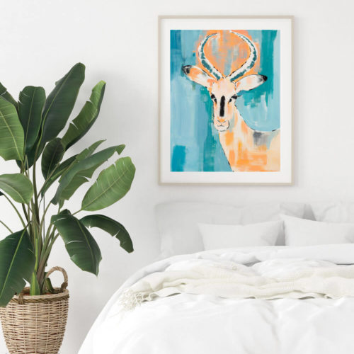 Antelope animal art print by Sonia McMullen, working from her home on Isle of Wight, UK. The oranges are turned up to a more saturated hue and the antelope gazes out to us from a classic backdrop of pastel and moody grey blues jostling with the teal and turquoise of the summer seas. Her animal art prints are available in 5 sizes, A4-A0. Frame not included.