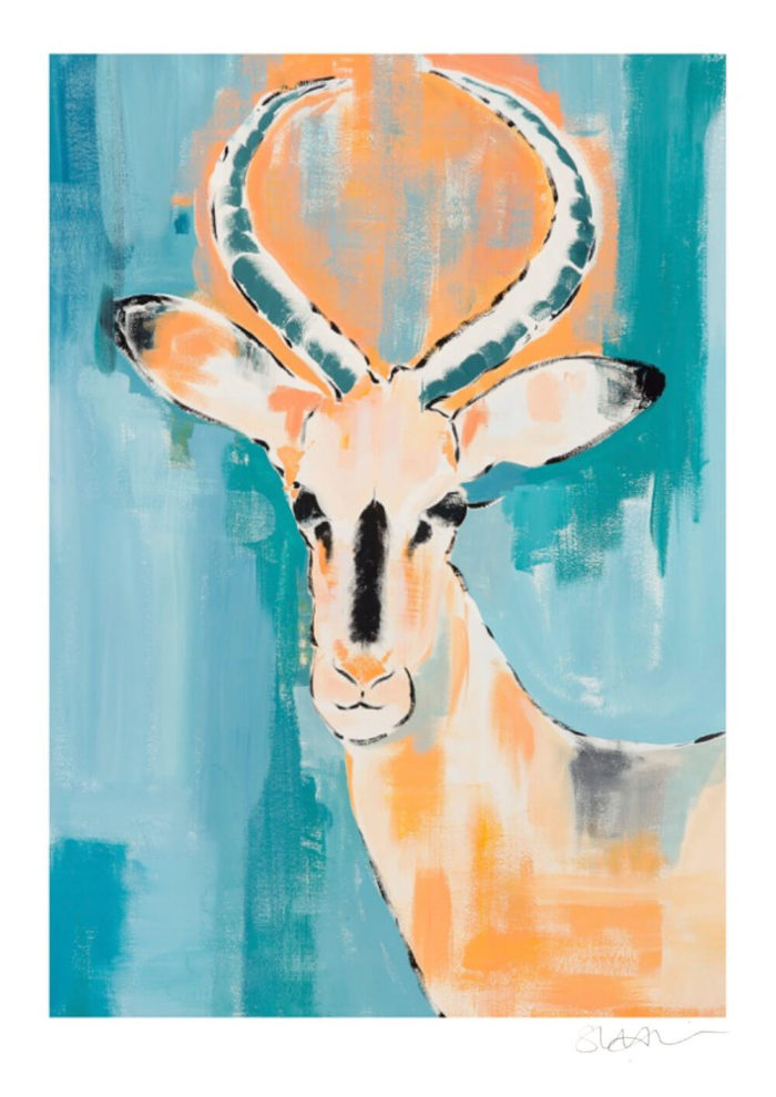 Antelope - animal art print by Sonia McMullen, working from her home on Isle of Wight, UK. The oranges are turned up to a more saturated hue and the antelope gazes out to us from a classic backdrop of pastel and moody grey blues jostling with the teal and turquoise of the summer seas. Her animal art prints are available in 5 sizes, A4-A0. Frame not included