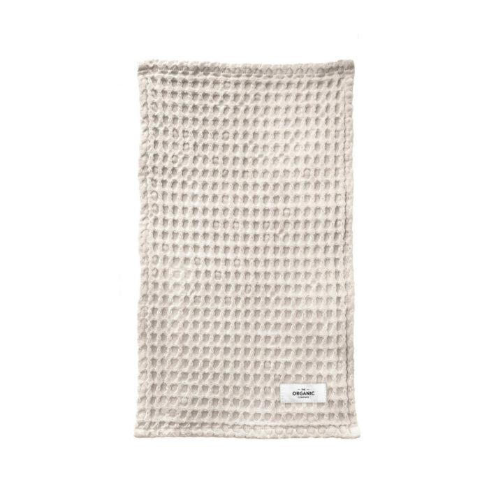 Big waffle hand towel in stone, organic cotton