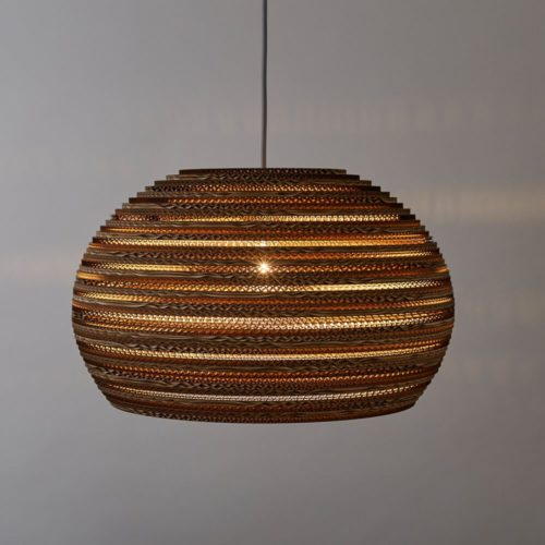 CartOn C5 cardboard lamp shade - sphere pendant light Handmade in the UK entirely from cardboard. Using cardboard from FSC certified forests and made from 85% recyled material. Pendant fitting, with a beautiful lined cardboard pattern that gives a warm ambient glow to your home decor. Maximum wattage: 100w incandescent, compatible with CSL and LED lamps of equivalent wattage. Non toxic, biodegradable glue and local materials. Explore Tabitha Bargh's brand page at chalkandmoss.com/brand/tabithabargh to see sustainable, eco friendly cardboard lighting in all shapes and sizes.