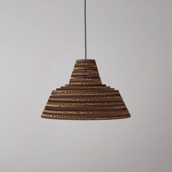 CartOn C7 - natural lamp shade - corrugated cardboard pendant light Handmade in the UK from natural cardboard, from FSC certified forests and made from 85% recycled material. Non toxic, biodegradable glue, sources local, and uses FSC certified materials. Pendant fitting. Max 60w incandescent, or CSL and LED lamps of equivalent wattage. These natural lamp shades come in different shapes and sizes at chalkandmoss.com.