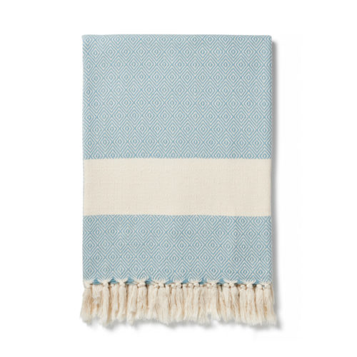 Colourful baby blankets, throws, towels or sarongs in ethical and soft Turkish cotton. Ready to wrap around yourself or a loved one. GOTS certified organic cotton. 170 x 90cm Seen here in teal.