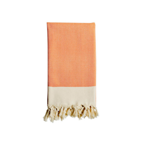 Cut out image of Eren, a traditionally woven Turkish cotton towel in clementine orange. Also sold in dove grey at chalkandmoss.com.