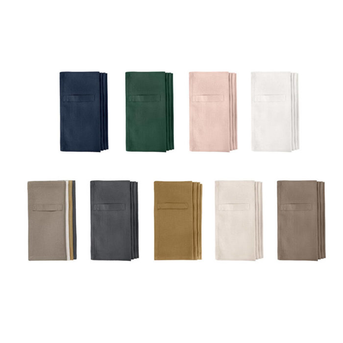 "Cloth napkins, the ""Everyday Napkin"" in organic cotton, 20x20cm. This reusable cloth napkin comes in a set of 4, either single colours, or mixed pack. The cardboard boxed napkins make a lovely gift. Designed by The Organic Company."