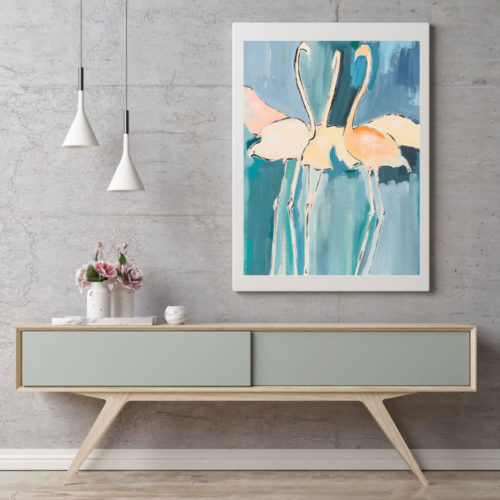 Flamingo art print by British artist Sonia McMullen. The blue, turquoise and warm orange glow of this Flamingo art print will set a contemporary art tone to your space. The contemporary colours of delicate rose, fresh salmon & the softest pale, yet warm oranges in the flamingos contrast perfectly with the opposite blues and greens of the sea and the sky. These modern animal art prints are available in 5 sizes, A4-A0. Paper: Acid-free, museum quality fine art paper with a soft textured finish. Weight: 315gsm, frame not included
