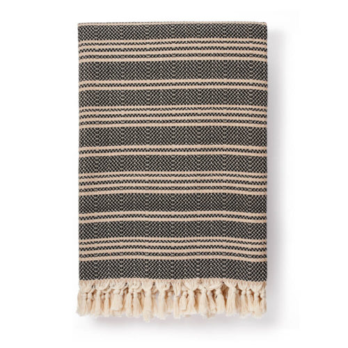 Hilmi Turkish cotton blanket in black (also available in cream). Traditionally woven by craftsmen in Turkey.