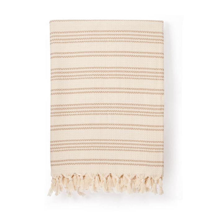 Hilmi Turkish cotton blanket in cream. Traditionally woven in Turkey.