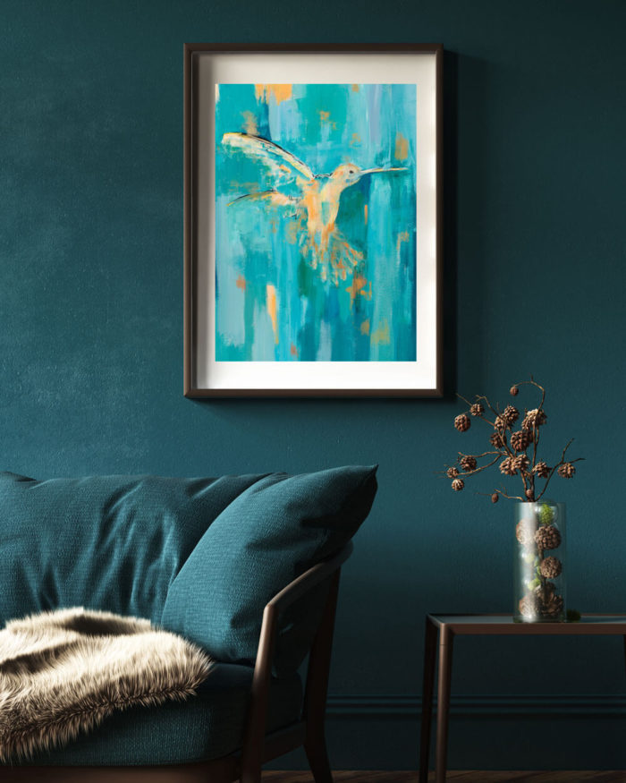 Hummingbird print, a modern wall art print from original artwork by British artist Sonia McMullen. In Sonia's classic semi abstract style, the hummingbird dances with apricot, pale peach through to burnt orange highlights; from a teal, turquoise and feathery soft blue. The warm glow of this Flamingo art print will set a contemporary art tone to your space. These modern animal art prints are available in 5 sizes, A4-A0. Paper: Acid-free, museum quality fine art paper with a soft textured finish. Weight: 315gsm, frame not included