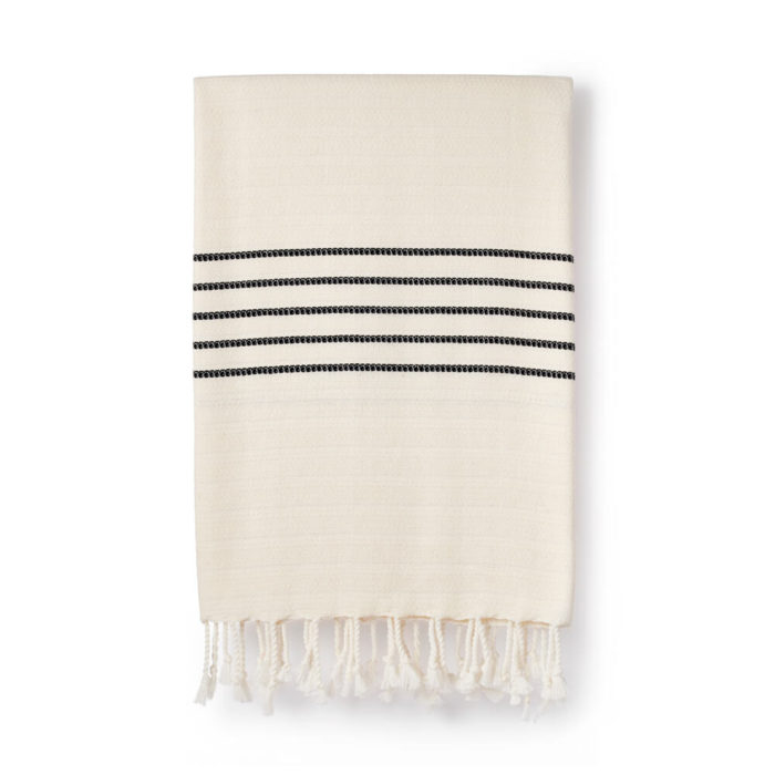 Turkish peshtemal handmade in bamboo and (non GMO) cotton blend. Beautiful as a minimalist yet luxurious bathroom towel, scarf or blanket. Pack down small and dries fast. 95 x 190 cm