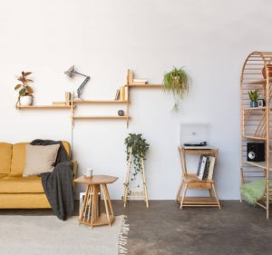 Handmade furniture by John Eadon includes modular shelving, plant stands, side tables, magazine racks and record stands. He also makes accessories like candle holders.