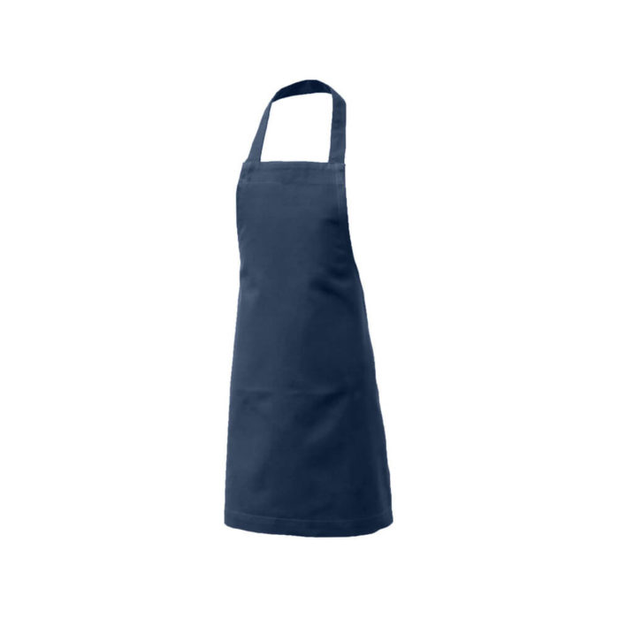 Kids apron, age 3-6 in durable organic cotton. Bringing generations together through the joy of baking, cooking or getting messy with crafts. A simple design with a neck and waist strap. 45 X 55 cm. Seen here in dark blue. For older young chefs, we have the Junior Apron, for (around) 7-11 year olds.