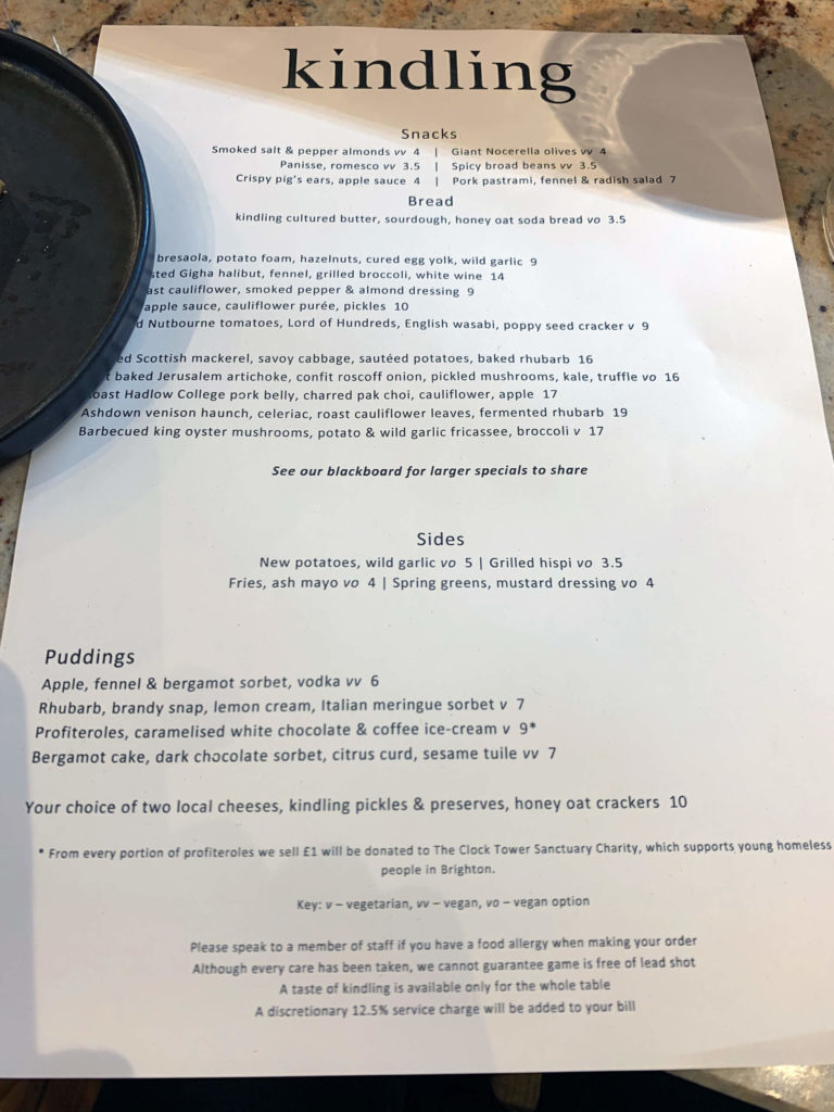 The menu at Kindling, East Street Brighton. Eat local and natural!