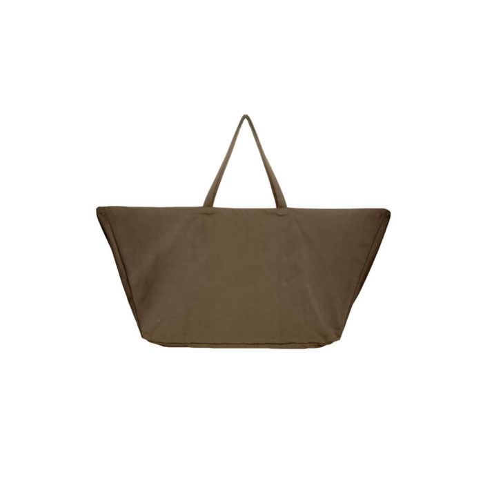 Extra large organic cotton canvas overnight bag, weekend bag or day bag. Lightweight enough to carry around with you. Seen here in clay (also available in black).