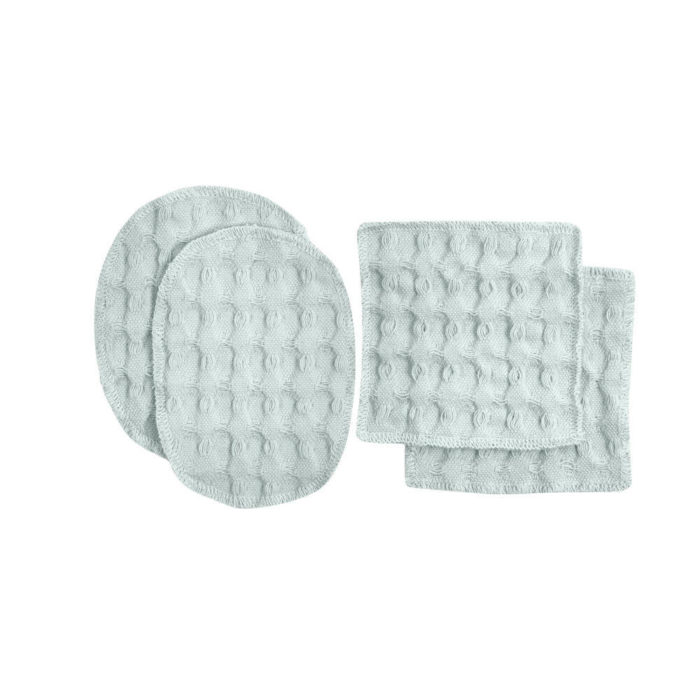 Reusable makeup pads, perfect for facial care and makeup removal. Simply wash, dry and reuse! Box of 2 oval ( 7x11cm) and 2 square (8x8cm) cotton pads. 100% organic cotton makeup remover pads in a range of soft and earthy colours. These beauties are made from excess fabrics in the big waffle production, to minimise waste. A true zero waste products for sustainable living. By The Organic Company at Chalk & Moss. Seen here in sky blue.