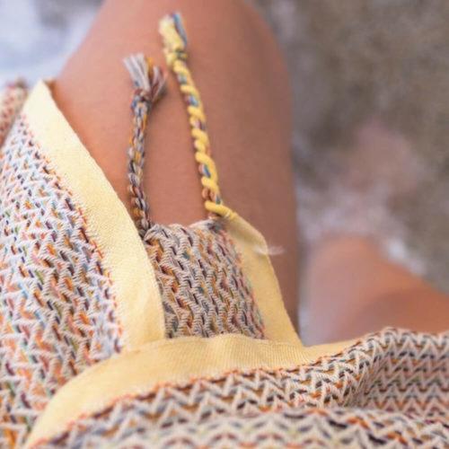 Meander cotton peshtemal woven from 15 bright colours.