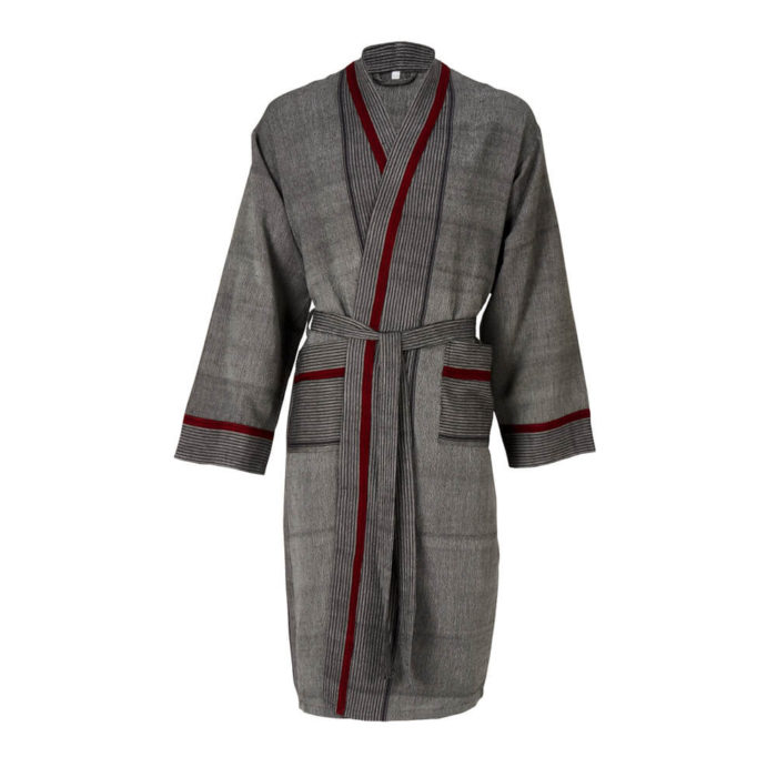Womens dressing gown in 100% natural cotton, designed as a kimono style bathrobe for home and away. Seen here in charcoal with a stripe design, also available in several other colours.