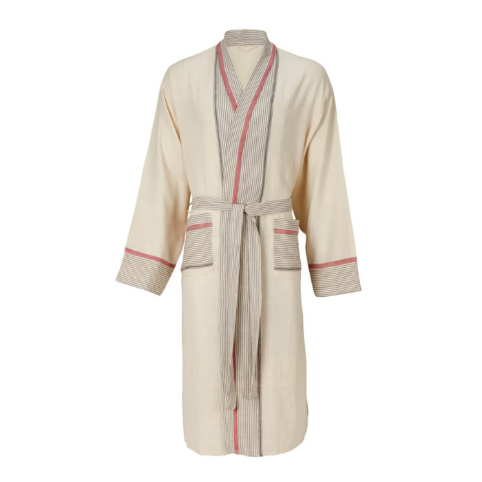 Womens dressing gown in 100% natural cotton, designed as a kimono style bathrobe for home and away. Seen here in cream with a stripe design, also available in several other colours.