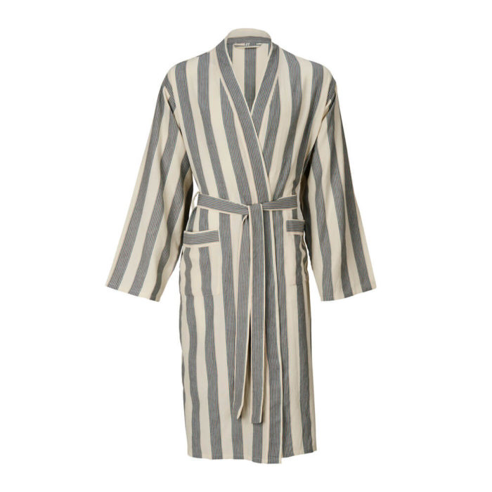 Womens dressing gown in 100% natural cotton, designed as a kimono style bathrobe for home and away. Seen here in multi-stripe, also available in several other solid colours with stripe detail.