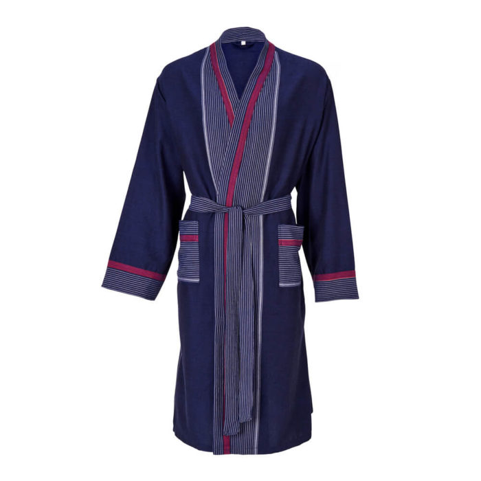 Womens dressing gown in 100% natural cotton, designed as a kimono style bathrobe for home and away. Seen here in navy with a stripe design, also available in several other colours.