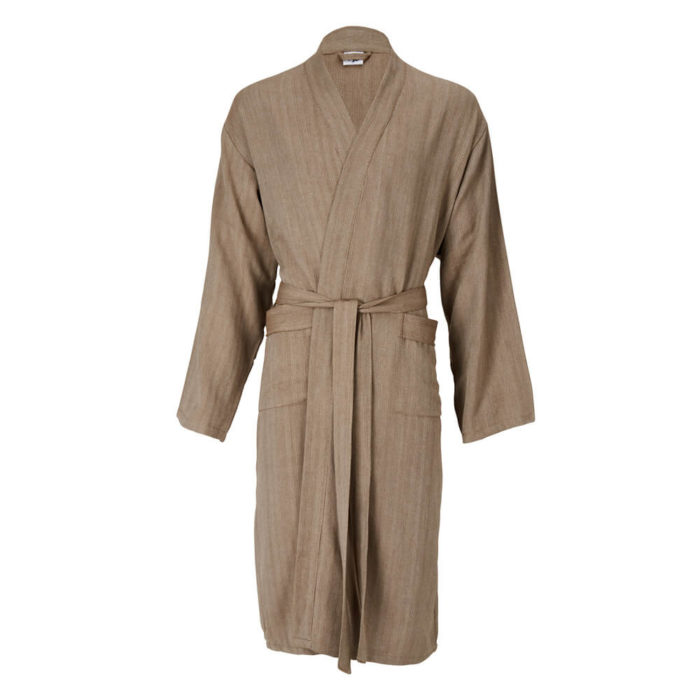 Womens dressing gown in 100% natural cotton, designed as a kimono style bathrobe for home and away. Seen here in taupe with a stripe design, also available in several other colours.