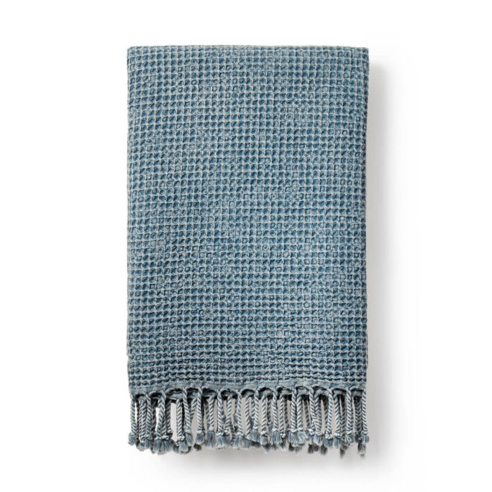 Marine blue waffle weave towel, the Rulo. Traditionally woven in Turkey.