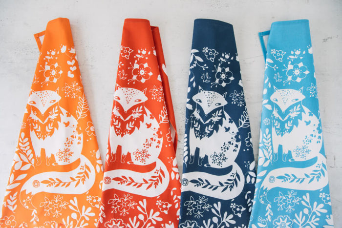 Funky tea towels - Fox is a cute and fun animal print cotton tea towel, available in several bright colours. Inspired by 60s and 70s Scandinavian folklore. 70 x 50cm