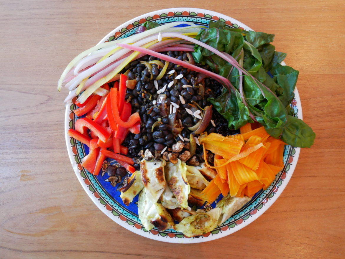 Pretty much every colour is represented in this Buddha Bowl, which is great when it comes to nutrition through vitamins and minerals. The more colours you pack in, the better!