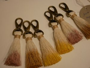 Bright colourful unique paper tassels as key rings by Jessica Light