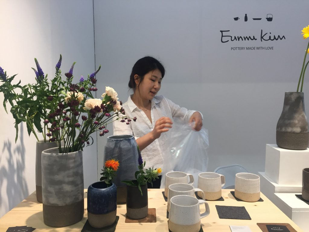 Eunmi Kim Pottery at House & Garden fair, showing her beautiful two textured vases and mugs.