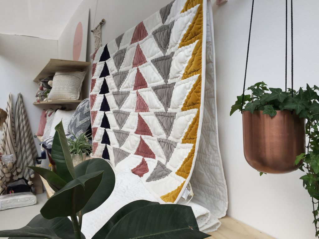 A treat for House & Garden festival: Projekti Tyyny patchwork quilt, cushions and throws. Designed by the lovely Finnish Nora Nilsson in Dorset, handmade in India. 100% cotton.