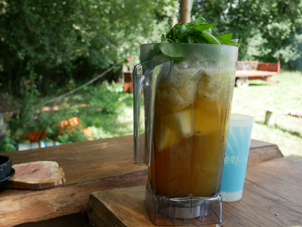 A welcomed hangover smoothie, with honeydew melon, fresh basil, apple juice and ice.