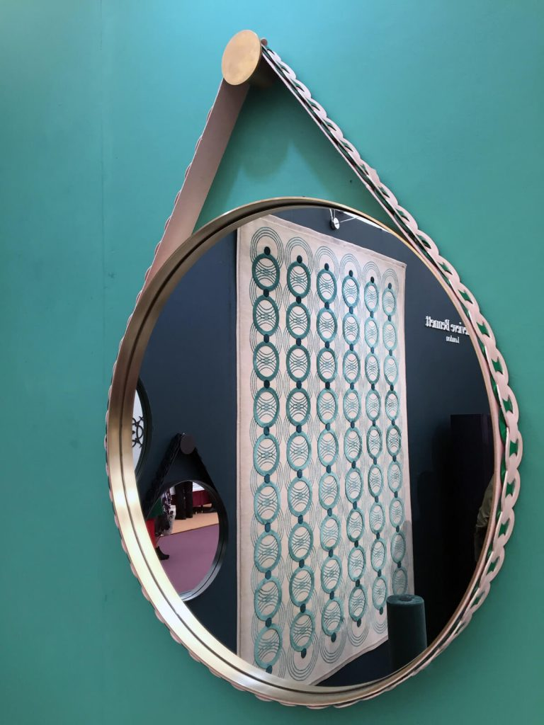 Genevieve Bennett showed her leather mirror at Decorex, London Design Festival 2017.