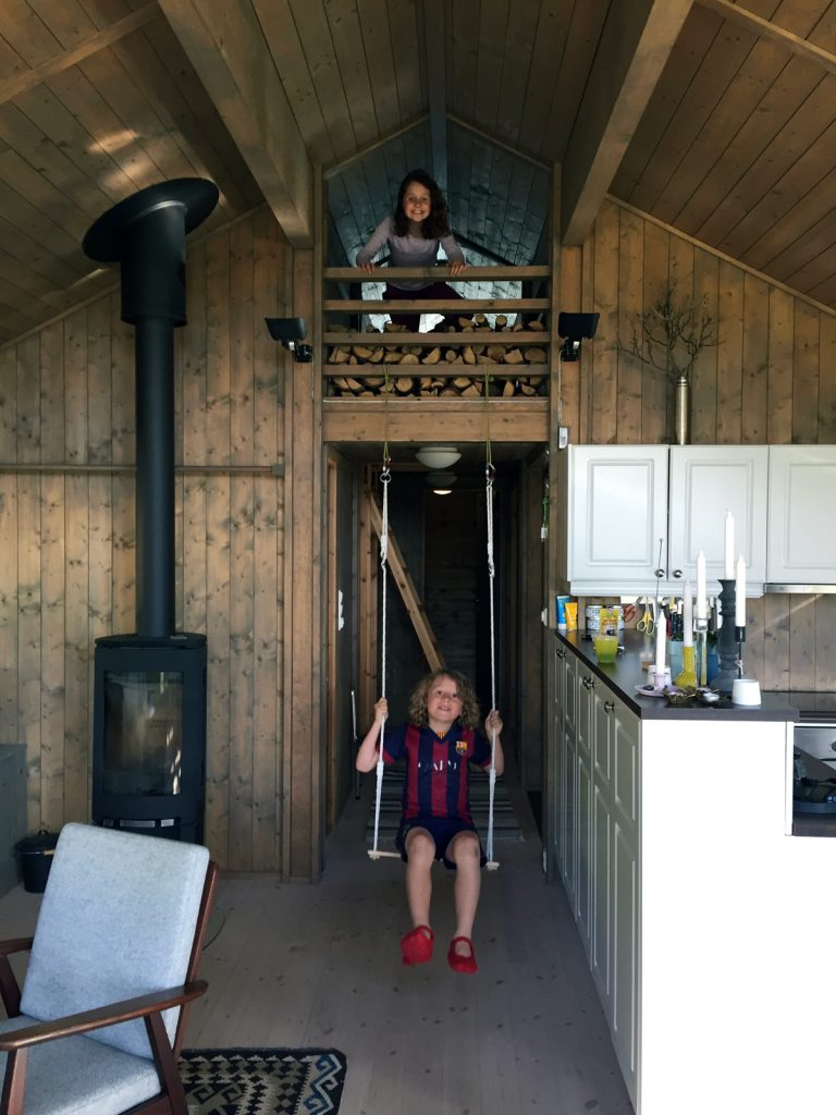 The hytte, or log cabin, even has space to swing.