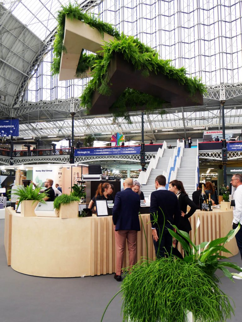 Biophilic and botanical was an important theme at 100% Design, Top Drawer and London Design Fair in 2017. This is the central bar at 100% Design in London, plants supplied by Patch.