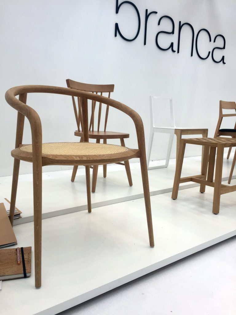 Branco Furniture from Portugal showed their hand crafted wooden chairs at 100% Design, during the London Design Festival.