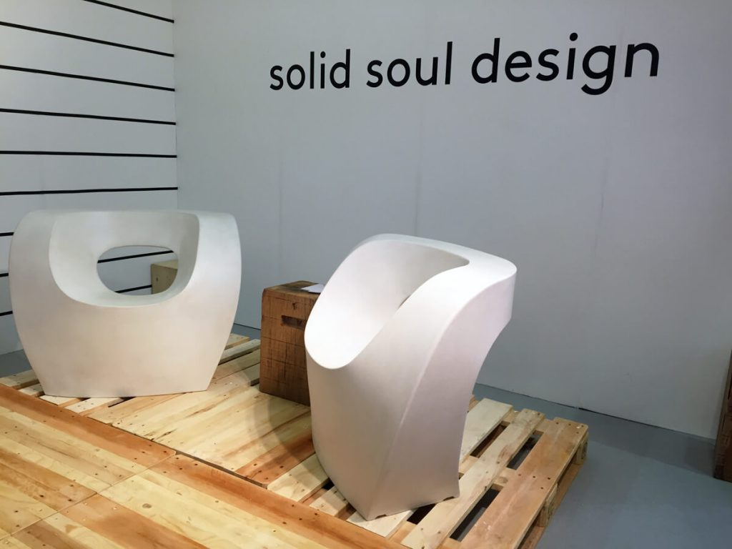Artists and designers show their work at 100% Design, during London Design Festival. Solid Soul Design.