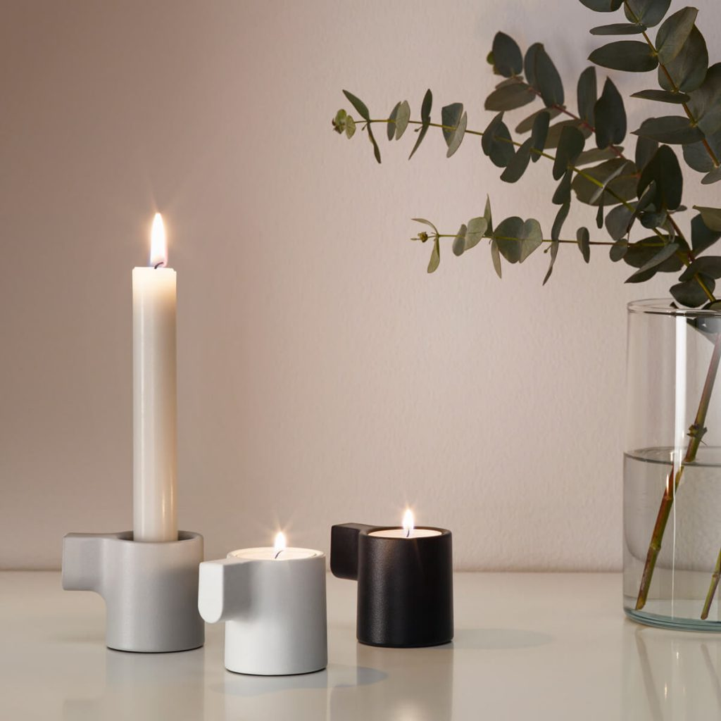 IKEA Hay collection YPPERLIG tealight holder in grey and black.