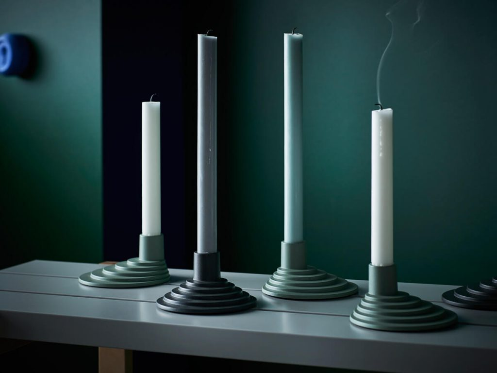 IKEA HAY collection YPPERLIG candle holders in earthy tones