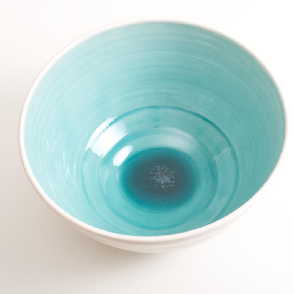 Handmade porcelain coloured deep bowl turquoise in size large