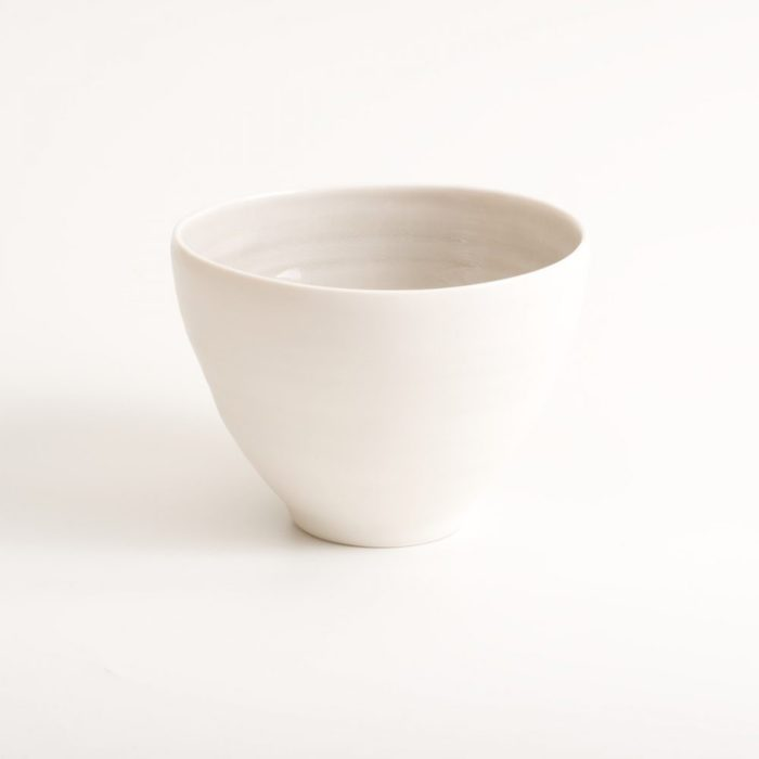 Handmade porcelain bowl grey medium. Hand-thrown with natural ridges.